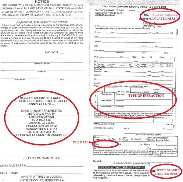 Tickets and Fines - Jefferson Davis Parish Sheriff's Office